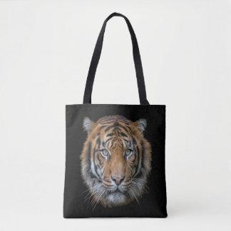 A Bengal Tiger cat wildlife face Tote Bag