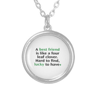 A Best Friend Is Like A Four Leaf Clover Round Pendant Necklace