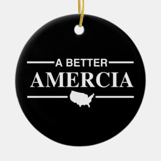 A Better Amercia Logo -.png Double-Sided Ceramic Round Christmas Ornament