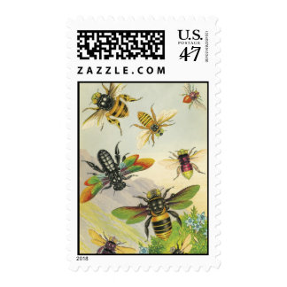 A Bevy of Beautiful Bees Postage Stamps