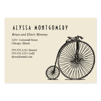 a bicycle made for two:  art deco mommy card large business card