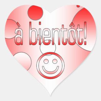 A Bientôt! Canada Flag Colors Pop Art Heart Sticker