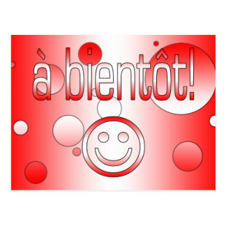 A Bientôt! Canada Flag Colors Pop Art Postcard