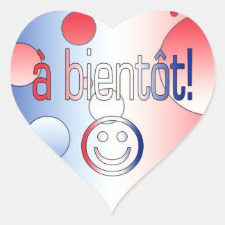 A Bientôt! French Flag Colors Pop Art Heart Sticker