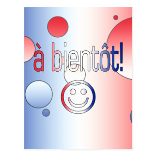 A Bientôt! French Flag Colors Pop Art Postcard