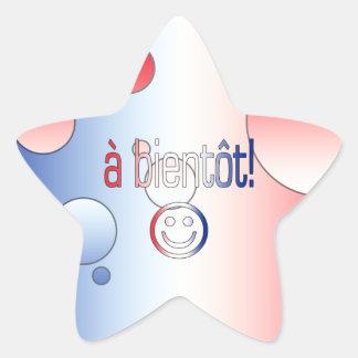 A Bientôt! French Flag Colors Pop Art Star Sticker