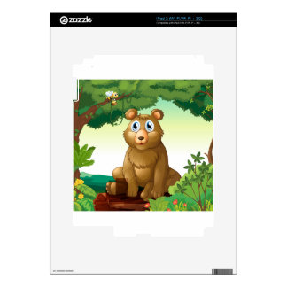 A big bear in the forest skin for iPad 2