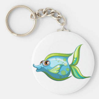 A big blue fish with a stripe-colored tail basic round button keychain