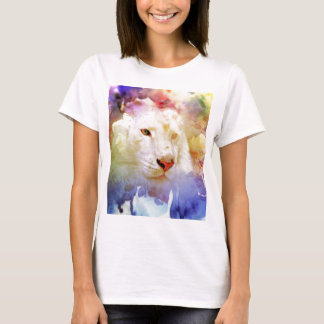 A Big Cat in a Floral Grunge Field T-Shirt