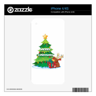 A big christmas tree beside the reindeer hugging t decal for the iPhone 4