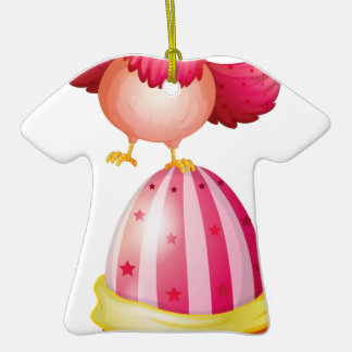 A big Easter egg and a hen Double-Sided T-Shirt Ceramic Christmas Ornament