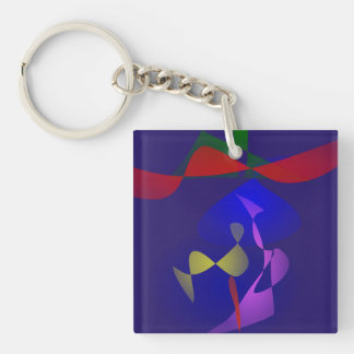 A Big Hat Double-Sided Square Acrylic Keychain