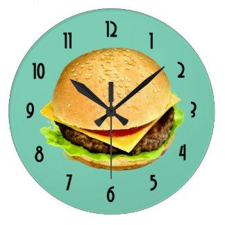 A Big Juicy Cheeseburger Photo Large Clock
