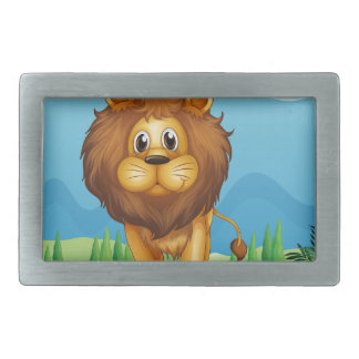 A big lion in the garden belt buckle