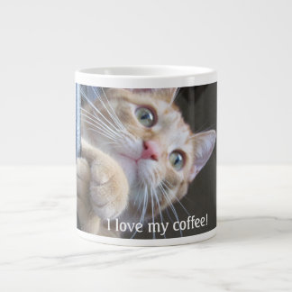 A big mug with a wired cat for a real coffee lover