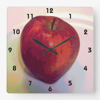 A Big Red Apple Square Wall Clock
