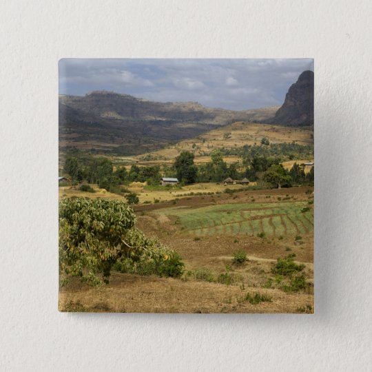 A big scenic view of a big rock mountain pinback button