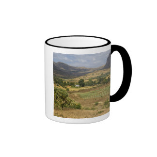A big scenic view of a big rock mountain ringer coffee mug
