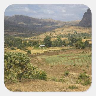 A big scenic view of a big rock mountain square sticker