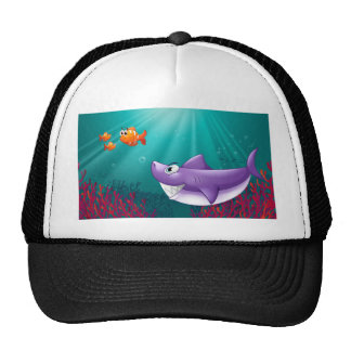 A big shark and three nemos under the sea trucker hat