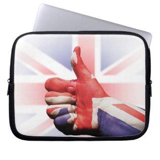 A big thumbs up 'like' with the Union Jack flag Laptop Sleeve