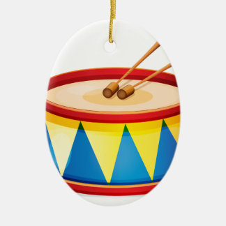 A big toy drum Double-Sided oval ceramic christmas ornament