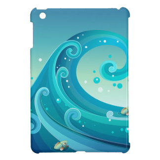 A big wave in the sea with fishes iPad mini cases