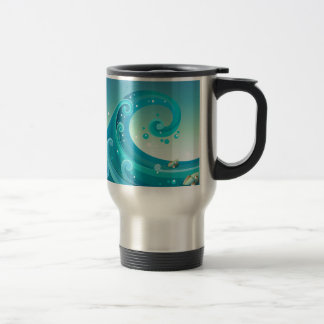 A big wave in the sea with fishes 15 oz stainless steel travel mug
