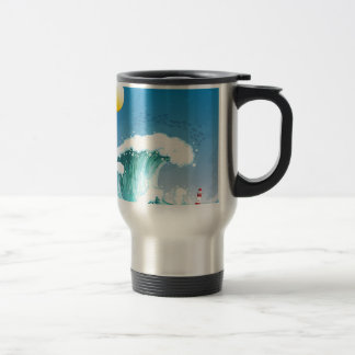 A big wave with a tower 15 oz stainless steel travel mug