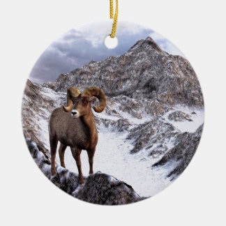 A Bighorn Sheep looks into the valley Ceramic Ornament