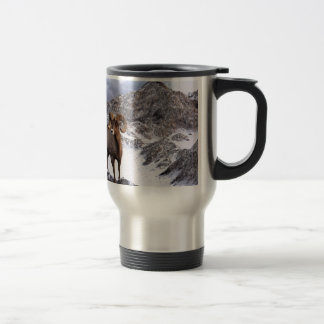 A Bighorn Sheep looks into the valley Travel Mug