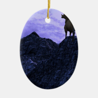 A Bighorn Sheep looks to the next mountain Ceramic Ornament