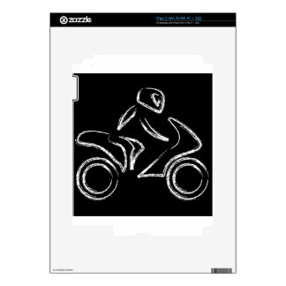 A biker on a motorbike decal for the iPad 2