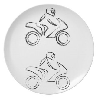 A biker on a motorbike with sketch effect dinner plate