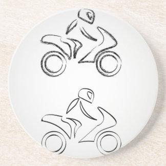 A biker on a motorbike with sketch effect sandstone coaster