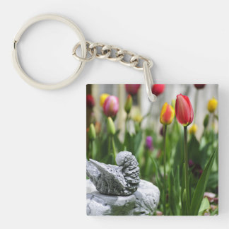 A Bird And A Tulip Double-Sided Square Acrylic Keychain