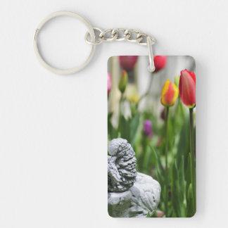 A Bird And A Tulip Single-Sided Rectangular Acrylic Keychain