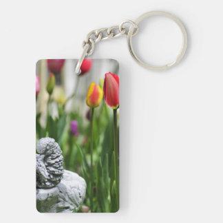 A Bird And A Tulip Double-Sided Rectangular Acrylic Keychain