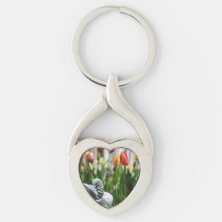 A Bird And A Tulip Silver-Colored Heart-Shaped Metal Keychain