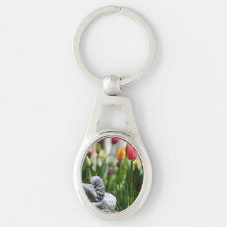 A Bird And A Tulip Silver-Colored Oval Metal Keychain