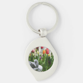 A Bird And A Tulip Silver-Colored Swirl Metal Keychain