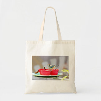A Bird And Butterflies In Red Cups Budget Tote Bag