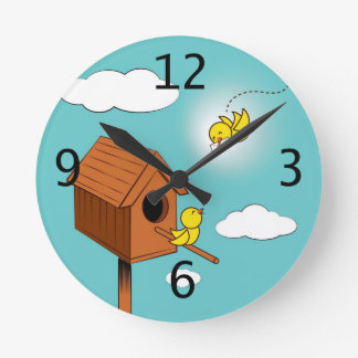 A bird carrying a love letter round clock