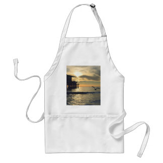 A bird flies low over the water adult apron