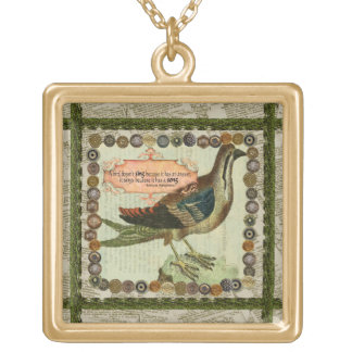 A bird has a song Gold plated necklace