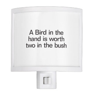 a bird in the hand is worth two in the bush night light
