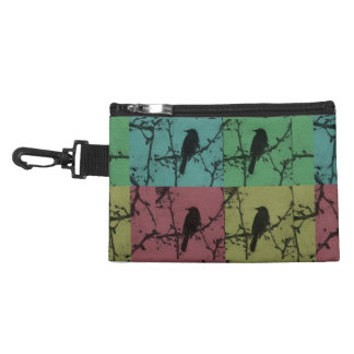 A Bird on a Teal, Yellow, Green & Red Background Accessory Bag