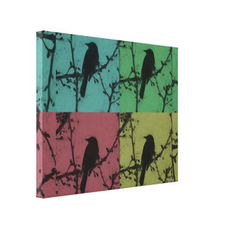 A Bird on a Teal, Yellow, Green & Red Background Canvas Print
