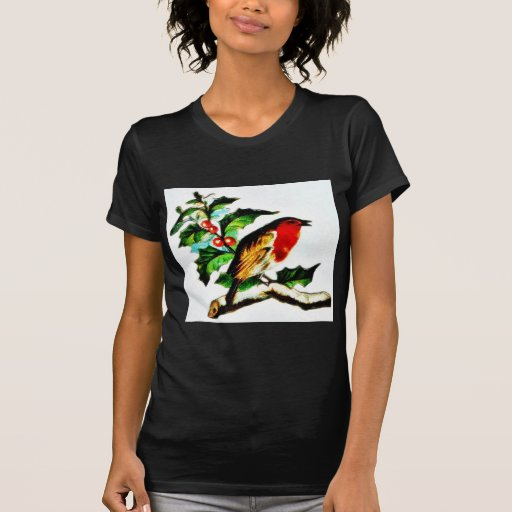 A bird staring at something standing n a chirstmas tshirt