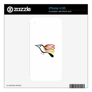 A bird with colorful wings decals for iPhone 4